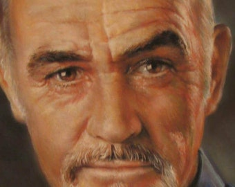 Portrait of Sean Connery . Custom Painting from Photo . Celebrities art