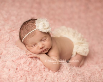 Ivory Lace Bloomer and headband set, newborn photo prop, diaper cover, baby bloomer, photography prop