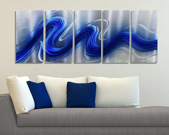 NEW Blue U0026 Silver Modern Metal Wall Sculpture Abstract