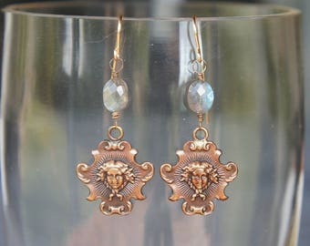 Luxe Louis XIV Sun King Plaque Earrings with Flashy Labradorite Gemstones