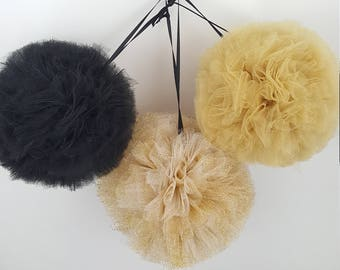 Gold and Black Pom Set, Tulle Pom Pom Set, Party Decorations, Party Decor, Birthday Party Decoration, New Years Decoration, Party Favor