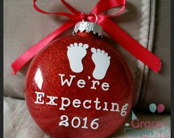 """Personalized """"We're Expecting"""" Ornament with Name and Date"""