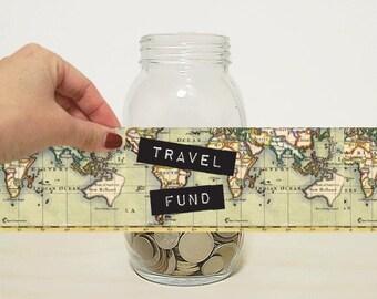 Travel Fund Digital Label for DIY Money Jar,  Money Bank Coin Jar for Holidays, Vacation, Adventure &Travel. Wanderlust, Glass Mason Jar