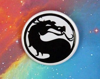 Mortal Kombat Dragon Pin/Button, Magnet, or Keychain