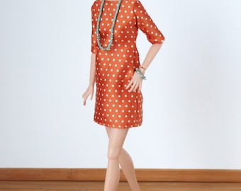 The Leslie Dress in silky orange with polka dots for Poppy Parker, Barbie Pivotal , Made to Mode, New Silkstone or Model Muse
