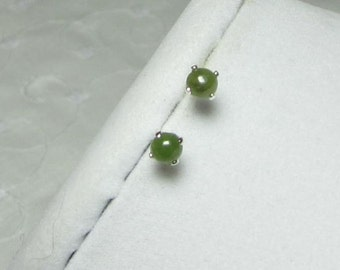Jade Earrings Natural Nephrite Jade Set in 14Kt Gold Filled or Sterling Silver Stud Posts