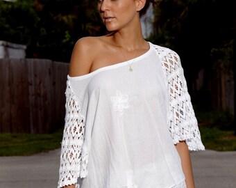 NINA Organic Cotton Crochet Dolman Sleeves  Nautical  Top