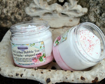 Jojoba Scrub Soap Red Lychee Bubble Tea 2 oz Whipped Soap Mini Creme Fraiche Trial Sample Size VEGAN