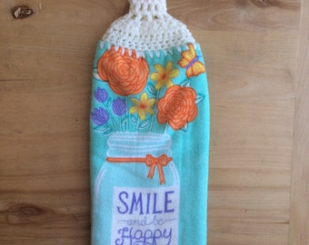Hanging Kitchen Towel, Crochet Top Towel, Double Kitchen Towel, Spring Towel, Mason Jar With Flowers