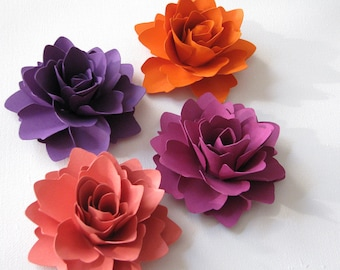 Paper flowers for gifts, weddings or scrapbooking set of 6 ANY COLOUR