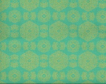 Fabric PINWHEEL flower Golden mint background