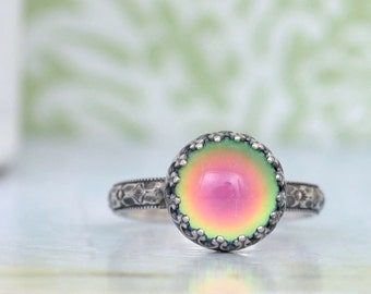 MOOD RING, sterling silver ring,  color changing ring, sterling silver mood ring antiqued, made to order