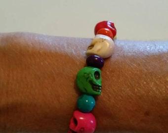 Day of the Dead,  Sugar Skull. Halloween Stretchy Bracelet