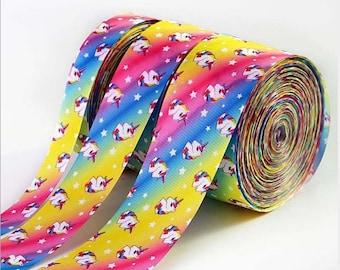 "3"" Unicorn Rainbow Ribbon, Cheer Rainbow Ribbon, Silver Laser Pastel Rainbow Ribbon"