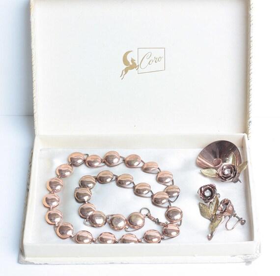 Coro Retro Brooch Earrings Set Necklace Rhinestones Floral Design