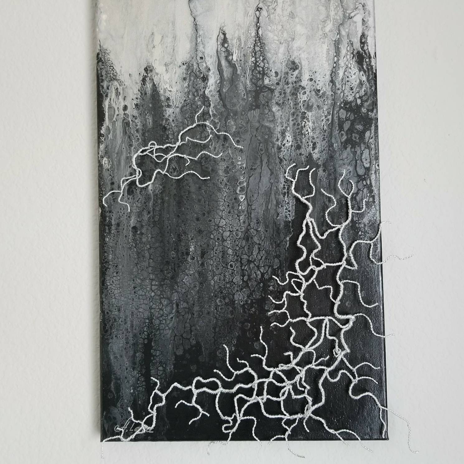 Abstract Metal Wall Art Home Decor Silver Aluminum On Canvas Sculpture Contemporary Acrylic Painting Black And White Office
