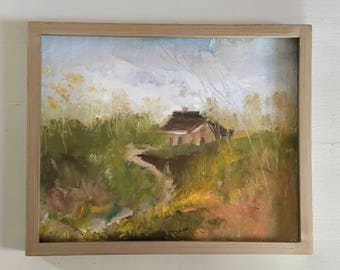 Landscape Painting- Oil Painting- Original- 8 x 10-Linen Panel- Framed Champagne Colored Simple Wood Frame-Silver Gold Frame