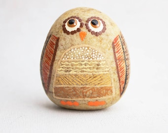Hand Painted Rock - Standing Owl - Interactive Art Piece - Cute Painted Owl Rock