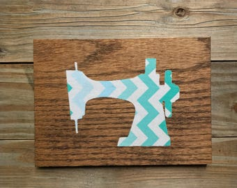 Wood and Fabric Sewing Machine Craft Room Decor Sign