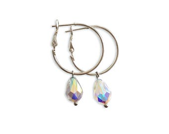 Silver Hoop Earrings I Crystal Earrings | Swarovski Crystal Jewelry
