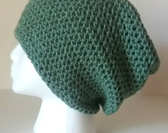 Sage Green Slouchy Hat / Womens Slouchy Beanie / Dusty Green Slouchy Beanie