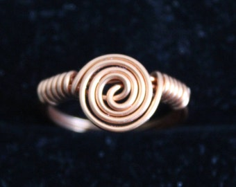 Large Swirl Copper Ring Size 8