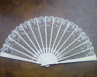 Vintage French Lace Fan with Sequins Circa late 19th Century Ivorine Folding Fan