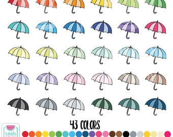 43 Doodle Umbrella Clipart. Personal and comercial use.
