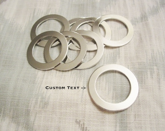 "Custom Silver Washer - 31mm x 22mm Inner (1-1/4"" x 7/8"") - Hand Stamped Washer Jewelry Tag - BULK PRICING AVAILABLE"