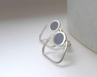 Grey Stud Earrings  - Square Gray Hoop - Minimalist Hoops - UK Jewellery - Gift for a Friend - Pop Stud Hoops