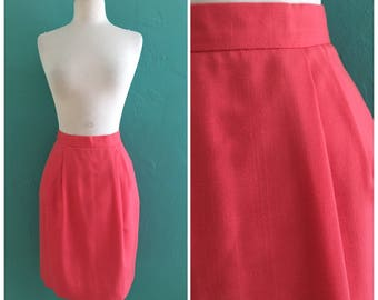 vintage 80's coral high waist skirt with pockets