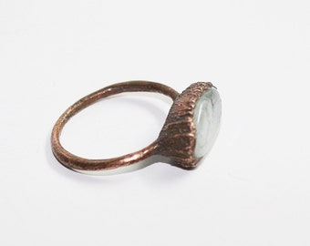 Aquamarine ring / Natural crystal ring / raw crystal ring / Electroformed ring / Raw Aquamarine ring