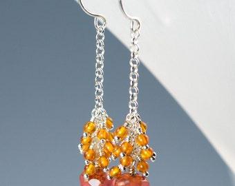 Amber and Pink Czech Glass Earrings / Long Silver Earrings / Long Dangle Earrings / Sterling Silver Handmade Earrings / Long Drop Earrings