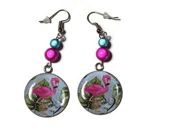 Magical pink and turquoise/gift/birthday Flamingo Pink/Pearl cabochon earrings