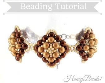 PDF-file Beading Pattern Round Squares Bracelet PDF-file Beading Tutorial by HoneyBeads1