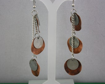 earrings, metal earrings, hand made jewelry, handmade jewelry, copper and gray earrings, copper earrings, gray earrings, drop earrings,