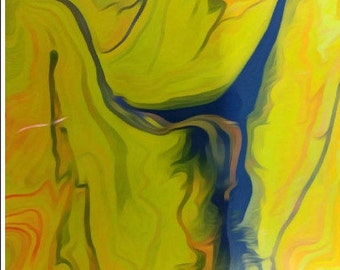 Abstract Dancer- acrylic painting abstract fluid art original acrylic art contemporary large abstract painting blue yellow canvas modern art