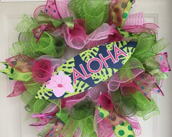 Bright Pink, Lime Green and Dark Blue Wreath w/ Aloha Surf Board Sign