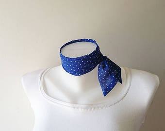 "Blue Polka Dot Mini Skinny Scarf, 36.5""x1.75"",Chiffon Neck Tie, Choker, Narrow Scarf, Thin Scarf with Angled Ends, Headband, Spring Summer"
