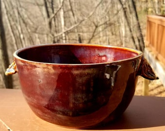 Handmade stoneware  bowl, handmade pottery, serving bowl, soup bowl, salad bowl, serving bowl. Holds 6 cups