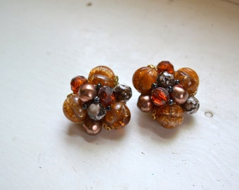 1950s West Germany Brown and Amber Cluster Clip Earrings