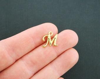 6 Letter M Charms Antique Gold Tone Cursive Script Letter Initial - GC750