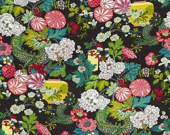 "Schumacher Chiang Mai Dragon ""Ebony"" Fabric by the Yard"