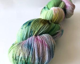SPRITE. hand dyed yarn, lace yarn, superfine merino yarn, green yarn, pink yarn, soft yarn, shawl knitting yarn, fine yarn