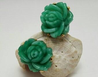 Green Glass Rose Earrings