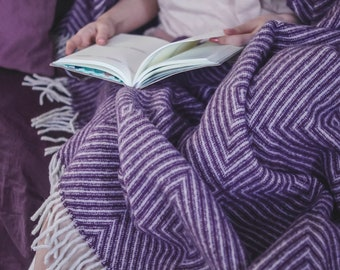 Lavender Chevron Outdoor Wool blanket Throw blanket Wool throw Light Bedding wedding gift wool blanket plaid housewarming gift mothers day
