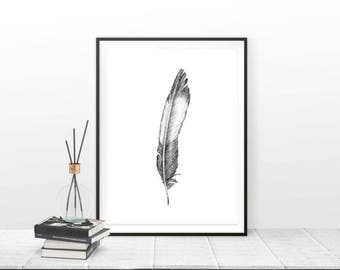 FEATHER DRAWING, Grey Feather Print, Feather Gray Drawing, Black and White Art Work, Artistic Wall Decor, Classic Art, Digital Download