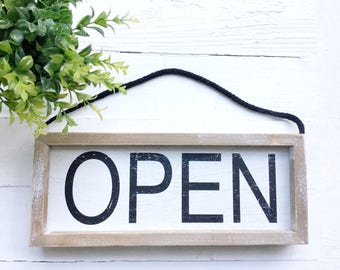 Open Closed Sign, Vintage Style Open Closed Sign,Wood Open Sign, Industrial Kitchen Closed Sign, Custom Open Closed Sign, Open Closed