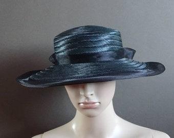 Yessica hat 1980's vintage hat blue straw hat 80's straw hat ladies straw hat vintage summer hat 80's retro hat
