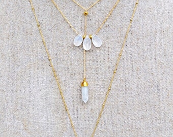 moonstone lariat necklace /// gemstone drop point necklace /// delicate layering Y necklace
